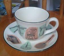 Prinknash Pottery Victorian Garden Cup and Saucer set - VGC