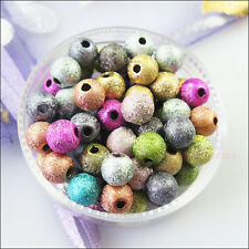 50Pcs Mixed Acrylic Plastic Round Ball Spacer Beads Charms DIY 8mm