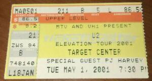 MTV VH1 U2 Elevation Tour Concert Target Center Minneapolis Ticket Stub 5/1/01