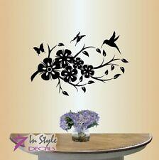Vinyl Decal Flowers Butterflies Humming Bird Floral Pattern Art Wall Sticker 947