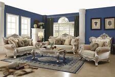 Luxurious Traditional Living Room Sofa & Loveseat w/Exposed Wood Platinum Finish