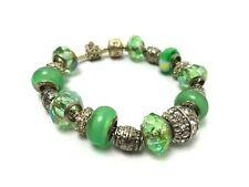 PANDORA Fully Charmed Silver Tone Crystal Pave 18 Green Charm .921 Bracelet