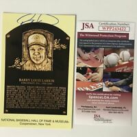 Autographed/Signed BARRY LARKIN HOF Hall Of Fame Plaque Postcard JSA COA Auto