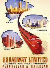 Viajes Transporte Tren Ferrocarril Nueva York, Chicago, Filadelfia Estados Unidos Cartel lv4477