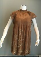 Free People Embellished Mini Dress High Neck Brown Green  w/ Slip Size XS New