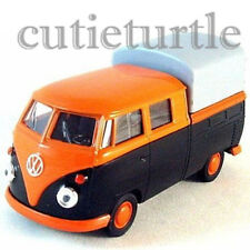 "Welly 4.75"" VW Volkswagen T1 Double Cabin Pick Up Truck 49720SPD-02 Black Orange"