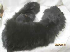 Vintage long black Fur Collar with Head