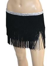 Belly Dance Costume Hip Scarf with Sequins 3 Line Tassel Fringe