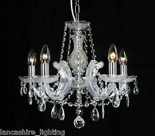 Marie Therese Glass Crystal Chandelier Light - Polished Brass OR Polished Chrome