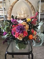 LARGE JADE FRUITS & FLOWERS BASKET (99-12) - CENTER PIECE - ON SALE