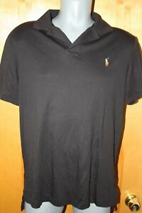 Polo by Ralph Lauren Mens Large Pima Soft Touch Polo Shirt Black Pony Logo