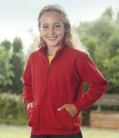 Unisex Fruit of the Loom Kids Classic Sweat Zip Jacket New