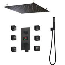 20 pulgadas Negro Mate Sistema de ducha de lluvia masaje digital portátil Grifo de