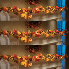 1.8M LED Lighted Fall Autumn Pumpkin Maple Leaves Garland Thanksgiving For Party