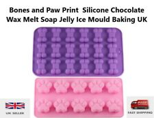Bones and Paw Print  Silicone Chocolate Wax Melt Soap Jelly Ice Mould Baking UK