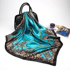 Scarves for Women Shawl Blue Silk Satin Hijab Scarf Female Bandana