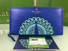 Kate Spade full plume peacock applique lacey zip round wallet $228