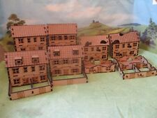 15mm 4 houses and 4 ruined houses &  Wargames FOW Team Yankee Lasr Cut Scenery