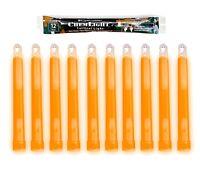 """10 (TEN) - 12 Hour 6"""" Military ChemLight (15cm) Orange lightstick Cyalume® Brand"""
