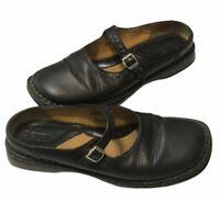 BORN Black Leather Mary Jane Mules Women's 8 M Slip On Shoes