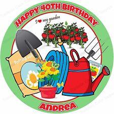 Personalised Love Gardening Gardener Edible Icing Birthday Party Cake Topper