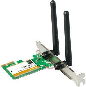 SCHEDA PCI-EXPRESS WIRELESS W322E 300mbp adattatore wifi per pc desktop 2 ANTENN