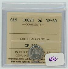 1882H Canada Five Cents Silver Coin ICCS VF-30 - Cert#GE237