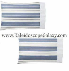 RALPH LAUREN Allister Hagan King Pillowcases  NEW $130 Retail Blue Cream Striped