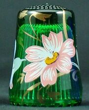 Fingerhut de vidrio verde estampado flores decoración-ae 227