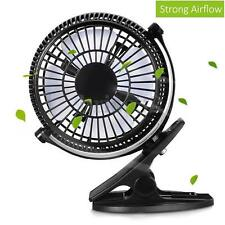 7'' Clip-on Table Fan Strong Airflow USB Powered Cooling Quiet Home Office Desk