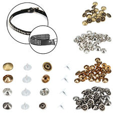 Punk Spike Brass Low Cone Studs with Pins Rivets for Leather Crafts Belts 100pcs