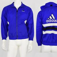90s Vintage Mens L/XL Adidas Windbreaker Jacket Hooded Logo Blue & White