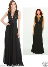 New Ladies Amy Childs Style Maxi Dress Black Full Length Evening Gown TOWIE Size