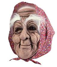 OLD WOMAN BAG LADY BABUSHKA HALLOWEEN RUBBER FANCY DRESS MASK & HEADSCARF NEW