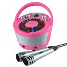 Groov-e Portable Karaoke Boombox with CD Player and Bluetooth Playback Pink U...
