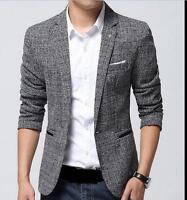 Fashion mens slim fit casual one button Blazer suit dress formal coat jacket #