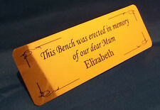 Personalised Memorial Bench Plaque Plate Mirror Gold Finish