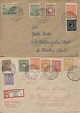 SBZ 2 sehr schöne Briefe (1 x R-Brief) mit Buntfrankaturen (B02770)