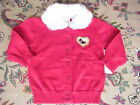 NWT Toddler Girl Red Cardigan Sweater Cute White Faux Fur Collar 18 mos