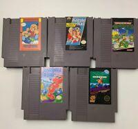 Nintendo NES Game Lot (5) TMNT Kung Fu Heroes Pinball Karate Kid Snake Rattle...