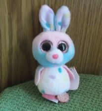 Ty Beanie Boo's Plush Easter Bunny Pastel Bubby Collectible 2016 Key Clip  NWT