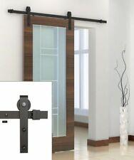 6.6 FT Black Carbon Steel Sliding Barn Door Hardware Track Rail Kit Wall Mount