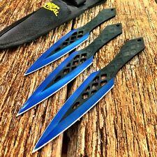 "3Pc 7.5"" BLUE Ninja Tactical Combat Kunai Throwing Knife Set w/Sheath Hunting -W"
