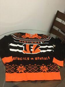 NWOT Cincinnati Bengals Black Orange Junk Food Ugly Christmas Sweater XXXL