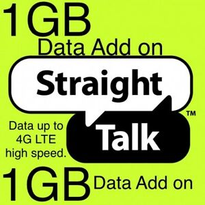 Straight Talk 1GB Data Add On Card for Smartphone. 4G LTE High Speed. Load Fast.