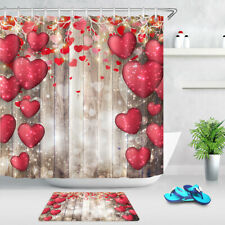 Valentine's Day Red Hearts Vintage Wood Wall Shower Curtain Set Bathroom Decor
