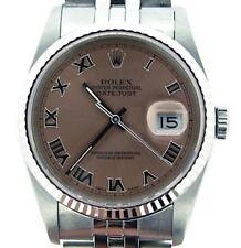 Rolex Datejust Mens Stainless Steel & 18K White Gold Jubilee Salmon Roman 16234