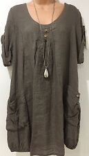 Italian LAGENLOOK Buttoned Linen Tunic Top* One Size fits 12 14 16 18*MOCHA