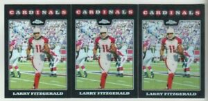 (3) Larry Fitzgerald 2008 TOPPS CHROME REFRACTOR CARD LOT #TC86 CARDINALS