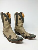 "Old Gringo Clarita 13"" Distressed Tan And Gray Studded Ladies Boots - 8B"